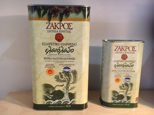 deux bidons d'huile d'olive de Zakros